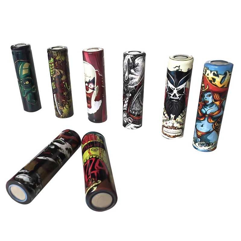 8pcs/pack Dark Series 18650 Battry Wrap 18650 Battery Sticker Protective Skin For Battery Dark Series Alien Skull