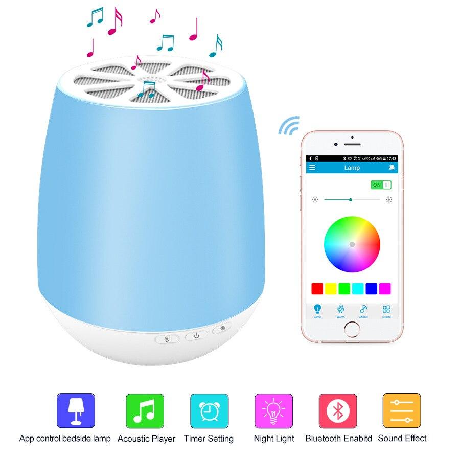Portable APP Control Bluetooth Ambient Speaker Night Light Speakers Timer Setting Alarm Clock Essential Oil Diffuser