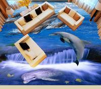 Dolphin waves European style 3D Flooring Wallpaper Waterproof Wallpaper For Bathroom 3D Floor Tiles