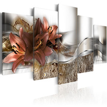5 Pieces HD Printed Exquisite background brown lily flowers Painting Canvas Print Room decor print Picture Framed PJMT- (11)