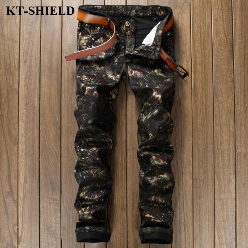 2017 New Men Jeans Brand Fashion Men s Black Camouflage Pants Army Casual Denim Pants Male