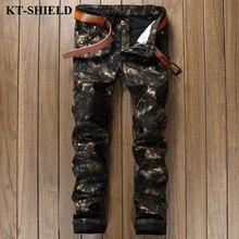 2017 New Men Jeans Brand Fashion Men's Black Camouflage Pants Army Casual Denim Pants Male Slim fit Cotton Biker Jean Homme