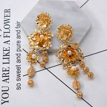 Baroque Golden flower drop earring For Women Leaf Pearl earrings fashion Jewelry Wedding Accessories Party gift