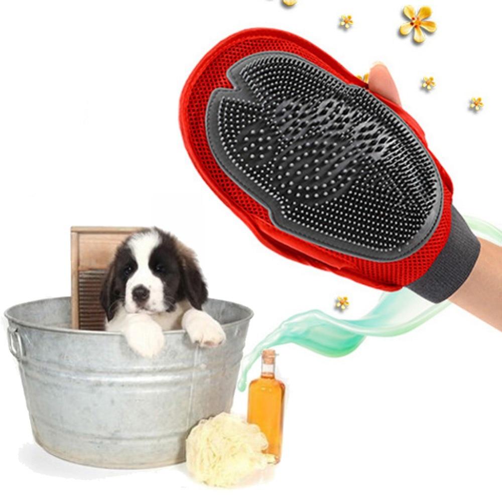 ASLT Cat Pet Dog fur Grooming Groom Glove Mitt Brush Comb Massage Bath Brand New big dog wash tool Bubble maker