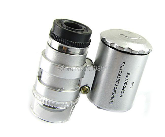 Mini 60x Jewelers Loupe Magnifier Magnifying Lens Glass Zoom Tool LED Light Currency Detecting Microscope