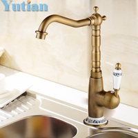 Free Shipping Kitchen Faucet Antique Brass Swivel Bathroom Basin Sink Mixer Tap Crane Torneira YT 6043