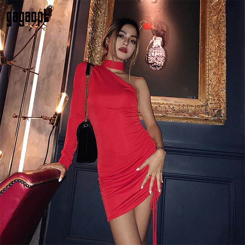 Gagaopt 2018 Autumn Bodycon Dresses Women One Shoulder Long Sleeve Sexy Red Club Dress Lace Up Party Dresses Vestidos Robes