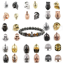 BTFBES Spartan Warrior Roman Warrior Knights helmet hat plating Silver Rose Gold DIY beads for Jewelry Bracelet Making Findings цена в Москве и Питере