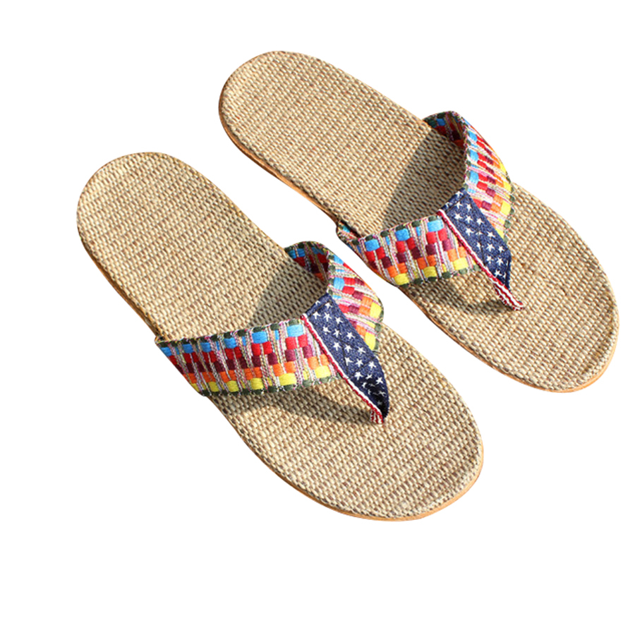 Linen Women Shoes Plaid Flip Flops Spring Summer Breathable Home House Indoor Slippers Flat Shoes new hello kitty spring summer slippers comfortable breathable linen house home indoor women shoes pasoataques brand
