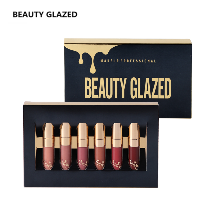BEAUTY GLAZED Brand Lip Makeup Matte Lip Gloss Easy To Wear Long-lasting Waterproof Lip Gloss Lip 6 Colors In Set qibest 23colors set brand makeup matte proof lipstick long lasting effect soft waterproof matte lipsticks lip easy to wear