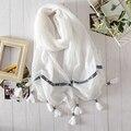 Lenços de primavera selvagem feminino lenço de seda confortável algodão e linho xale cor sólida longa seção de literário ocasional protetor solar