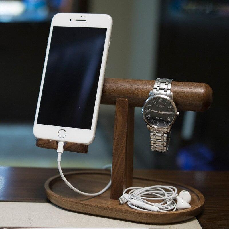 Station de recharge en bois pour Iphone, Ipad, Samsung et autres Smartphones, avec porte-clés en bois/Valet/support de montre