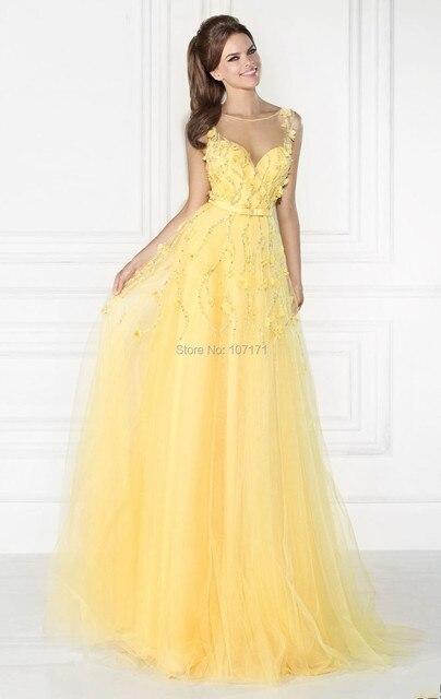Vestidos elegantes color amarillo