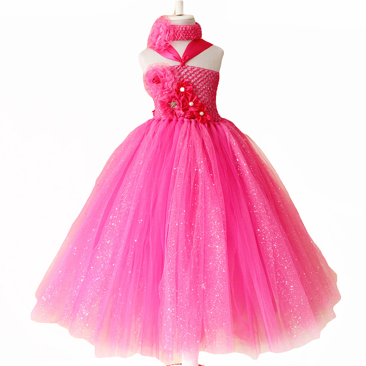 hot pink flower tutu dress for baby girls 2 8y for