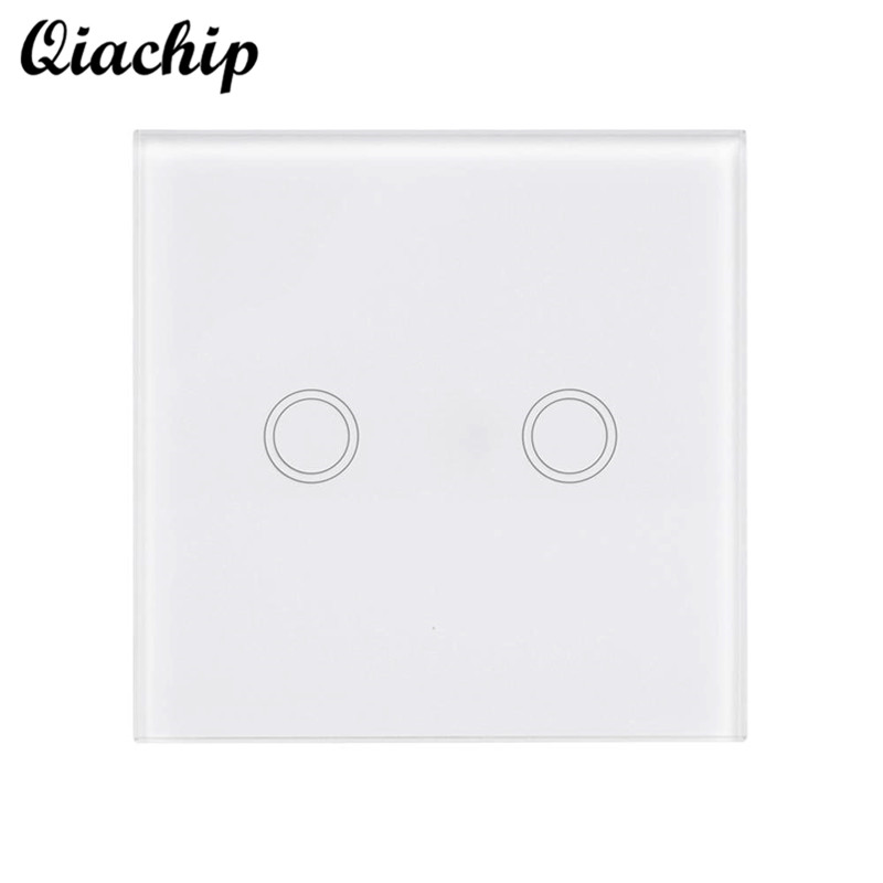 QIACHIP Luxury Crystal Glass Panel Touch Switch Accessories Remote Control Switch Advanced Wall Switch Indicator Light Switches 2017 free shipping smart wall switch crystal glass panel switch us 2 gang remote control touch switch wall light switch for led
