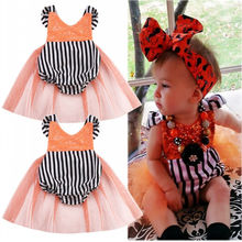 Sequins Baby Girls Striped Tulle Romper Summer Sunsuit Clothes 0-24M 2016 NEW Fashion