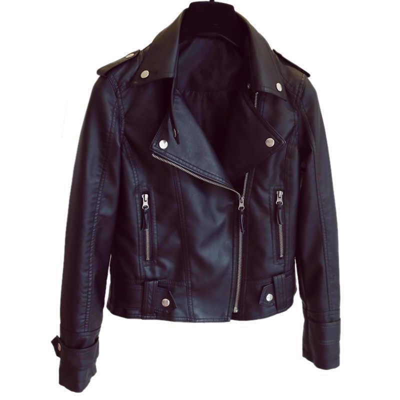 Dubbele Ketting Fuax Leren Jas Vrouwen Zwarte Moto Jas Punk Kraag jaquetas couro Casaco chaquetas Blazer campera cuero mujer