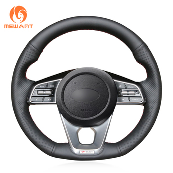 MEWANT Hand-stitched Black Genuine Leather Hand Sew Steering Wheel Cover for Kia K5 Optima 2019 Cee'd Ceed GT 2019 Cee'd Ceed
