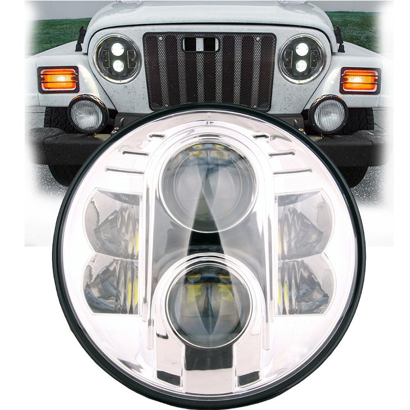 80W LED Auto headlight 7'' Round led headlight led Driving light Head lamp for Jeep Wrangler 07-15 Hummer H1 H2 Harley black chrome round 75w high low beam drl led auto headlight driving fog lights for jeep wrangler hummer h1 h2 offroad