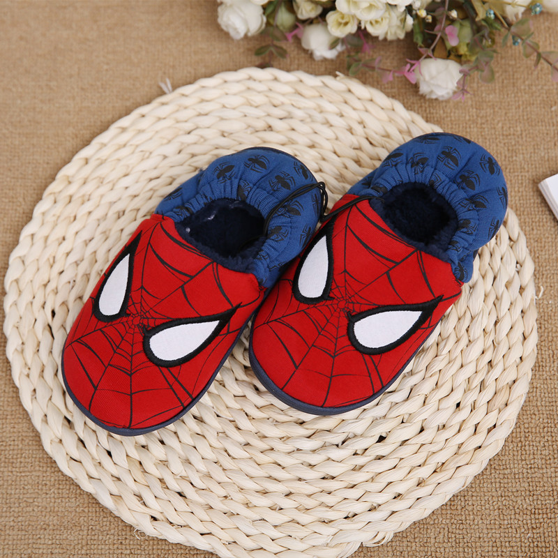 Disney slippers winter todder spiderman home slippers baby boy warm plush shoes cartoon animation floor pantuflas terlik (13)