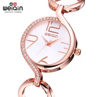 WEIQIN Waterproof Rhienstone Rose Gold Bracelet Watch Women Fashion Quartz Watches Time Hour Reloje Mujer 2016