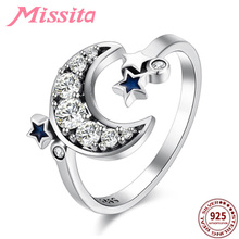 MISSITA 100% 925 Sterling Silver Blue Star Clear Moon Rings For Women Silver Jewelry Brand Wedding Finger Ring HOT SELL Gift цены онлайн