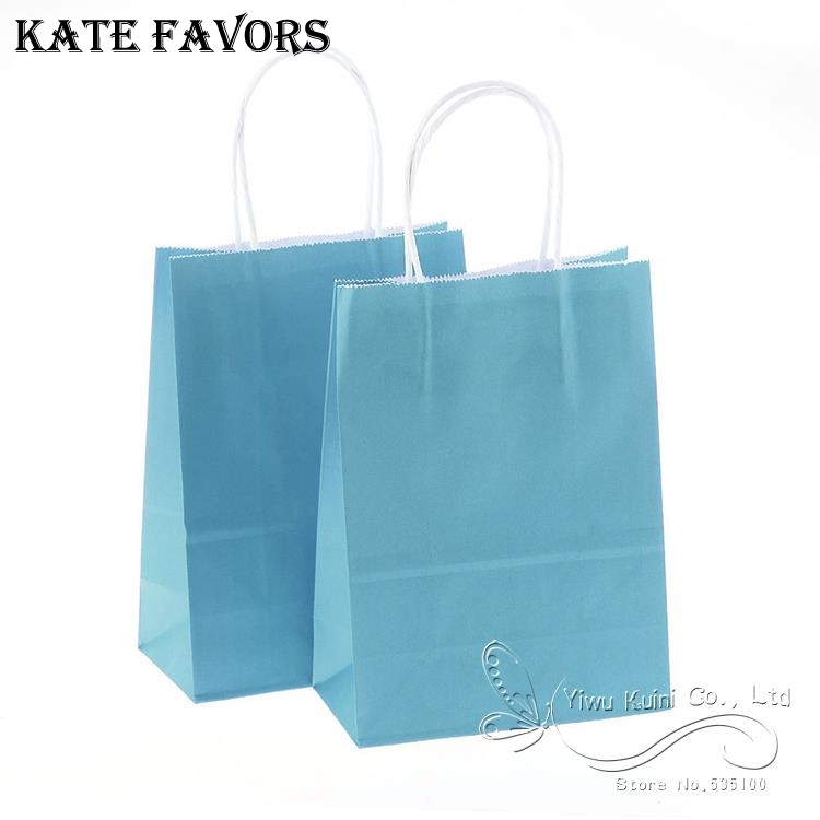 Wedding Paper Gift Bags: Light Blue Kraft Paper Bag With Handle/Festival Gift/Party
