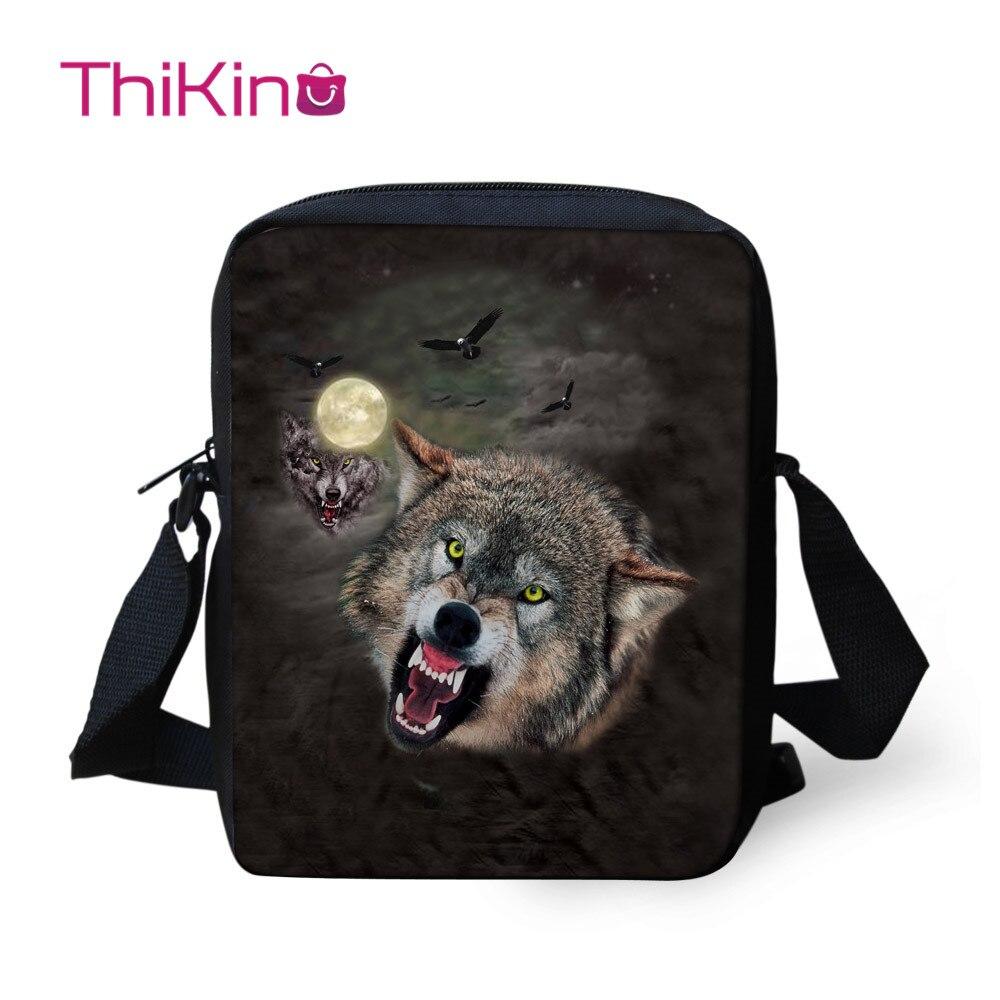 Thikin Moonlight wolf Shoulder Messenger Bag Cool Summer Crossbody Phone for Boys Shopping Bags Mochila Infantil