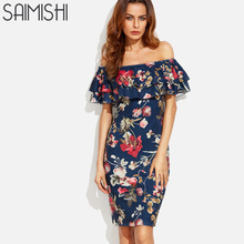 Saimishi Size S-XL Summer Tiered Ruffles Bodycon Dress  Fashion Women Off Shoulder Dress Floral Print Knee Length Dress