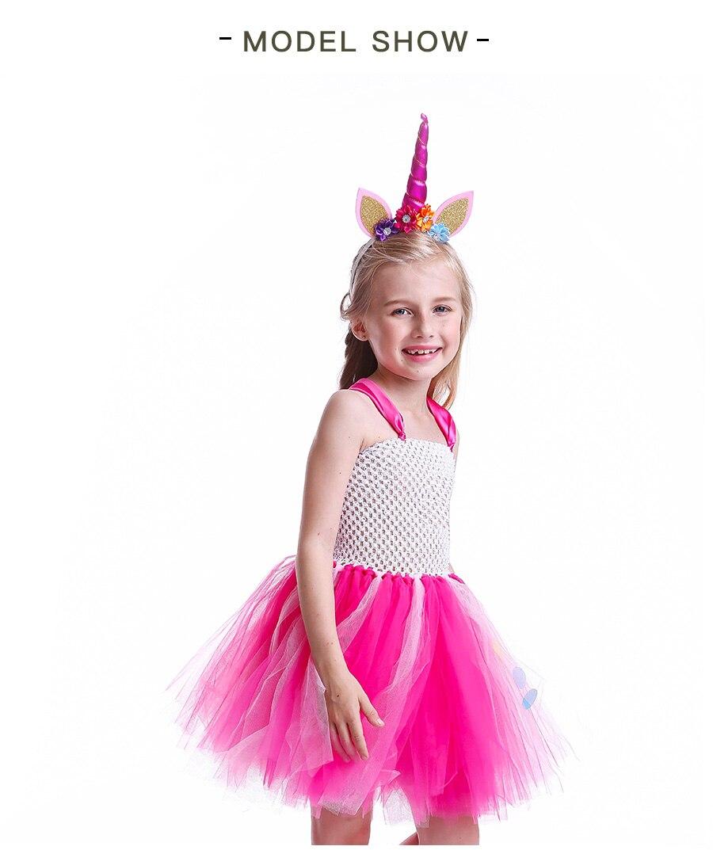Girls Rainbow Tutu Dress with Unicorn Headband Children Princess Fancy Party Dress Christmas Halloween Kids Pony Costume (4)