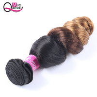 May Queen Brazilian Loose Wave Ombre Hair Bundles 1B/4/30 Three Tone Human Hair Weave 1Pc 12 26 Inch Remy Hair Extensions