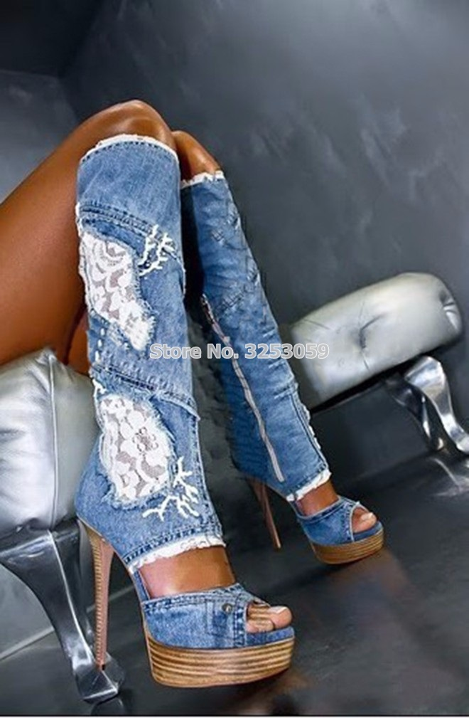 ALMUDENA Sexy Denim Blue Jean Boots Wood Sole Platform Open Toe Lace Flowers Patchwork Tall Boots Knee High Cut out Floral Shoes
