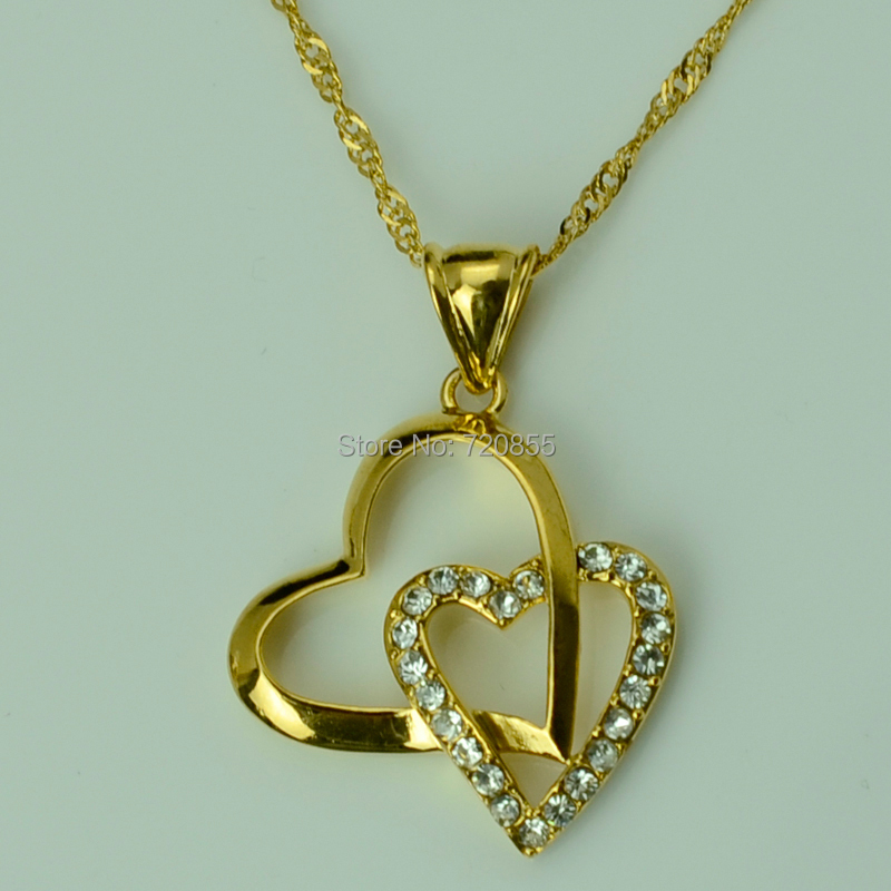 Anniyo Best Gift Heart Pendant Necklace Chain for Women Gold Color