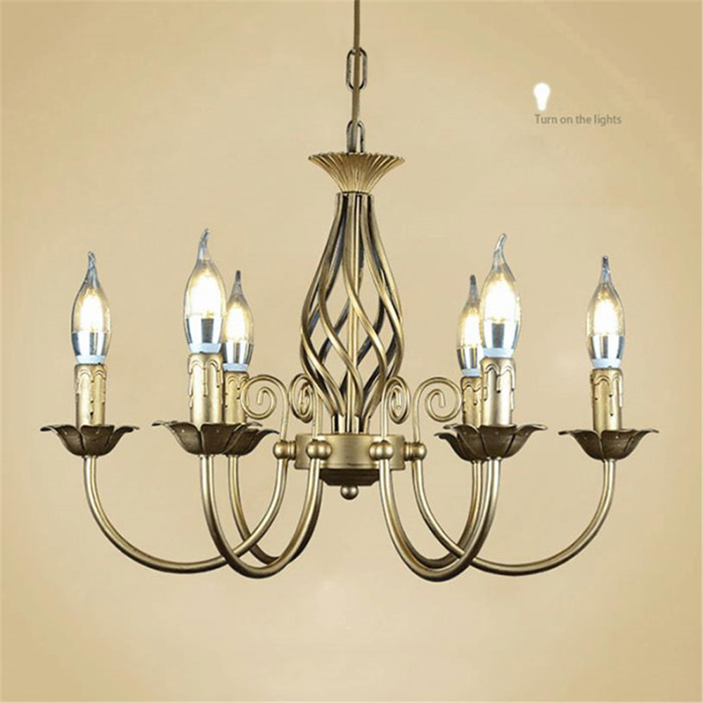Image 2 - Vintage Wrought Iron Chandelier E14 Candle hanging Light Lamp Bronze Metal LED home Lights Fixture modern iron lustre promotiom-in Chandeliers from Lights & Lighting