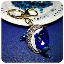 Rhinestone 3D Design Cute dolphin Style Handbag Charm Accessory Fantastic Key Chain Ornament Gift