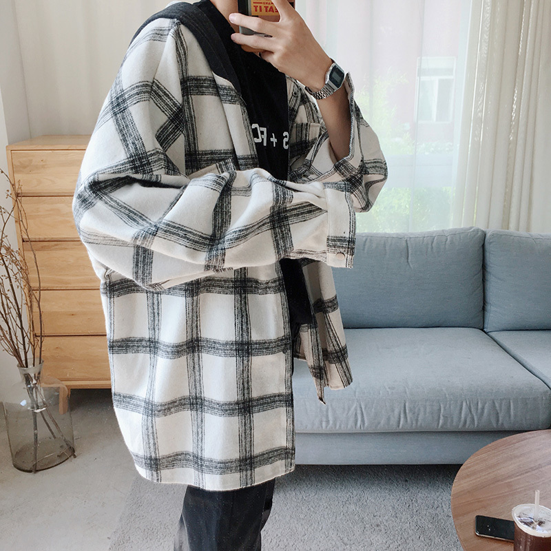 Overshirt Men Autumn New Fashion Casual Loose Long-sleeved Hooded Woolen Jacket Clothes Streetwear Male Plaid Shirt Outwear Man