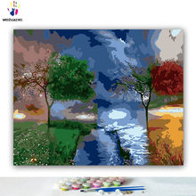 DIY Coloring paint by numbers Four seasons tree river Abstract figure paintings by numbers with kits 40x50 framed(China)