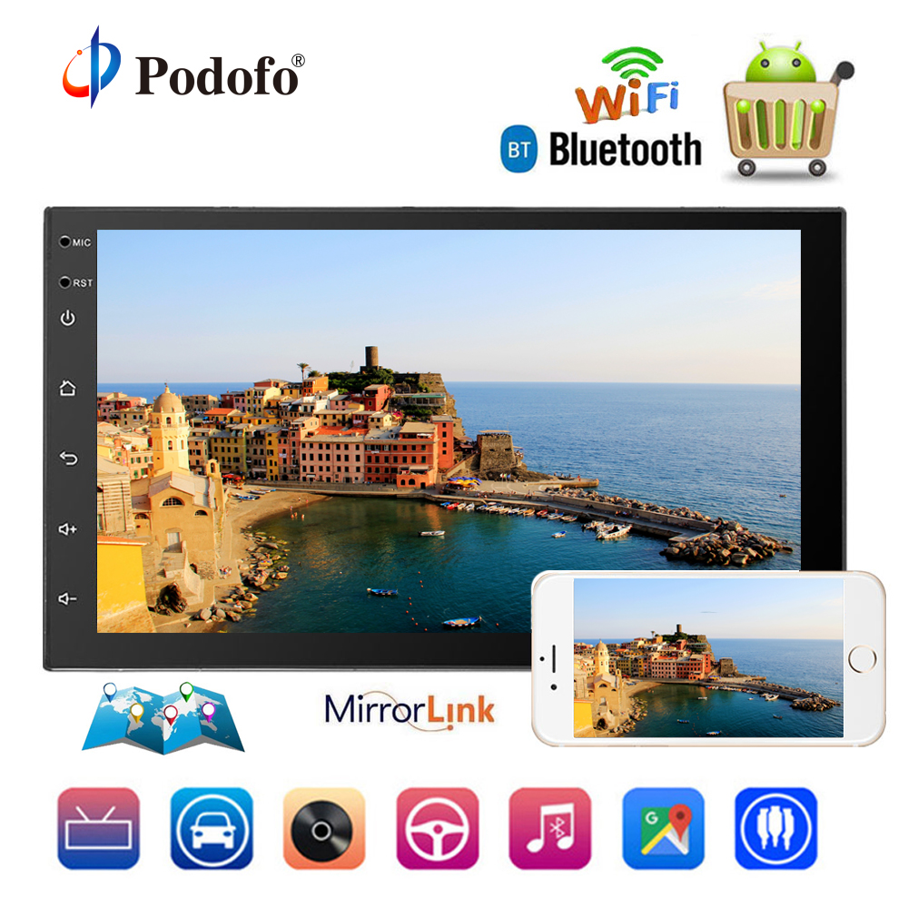 Podofo 2 Din Car Radio GPS Android Multimedia Audio Player Mirror Link Universal Auto Radio Car Stereo Support Rear View Camera