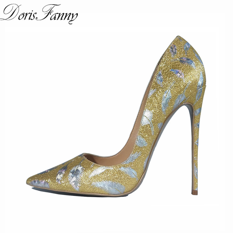 DorisFanny Party Wedding shoes woman Glitter gold shoes for women printed sexy high heel pumps pointed-toe stiletto heels shoes dorisfanny sparkly glitter sequin high heel pumps shoes sexy party club prom 12cm size 33 45 womens high heel shoes