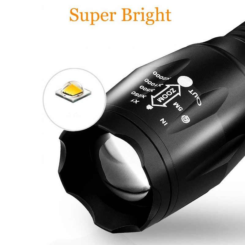 Linterna táctica LED Dropshipping 8000 Lumen T6 linterna de pesca portátil con zoom impermeable 5 modos de luz