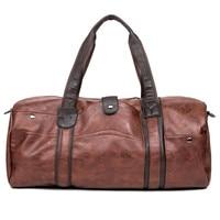 Men's Large Capacity PU Leather Sports Gym Bag Fitness Sport Duffel Tote Travel Shoulder Handbag Male Bag Black Brown