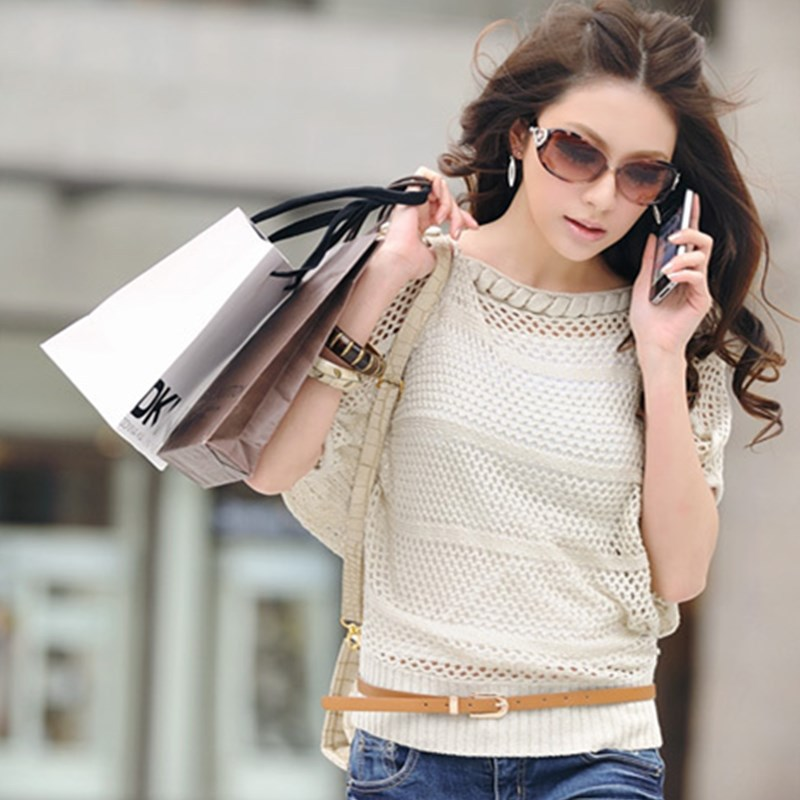 இspring Summer Style Strapless Sweaters Short Sleeved Hollow Bat