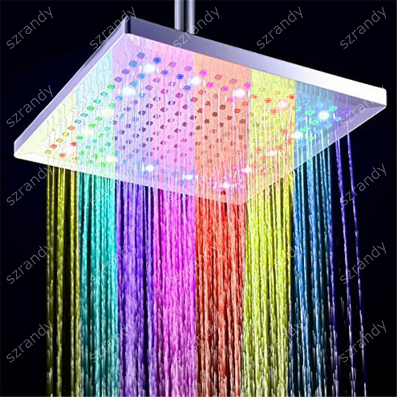 7 color fast flashing LED shower head lights with 300mm 12 inch size