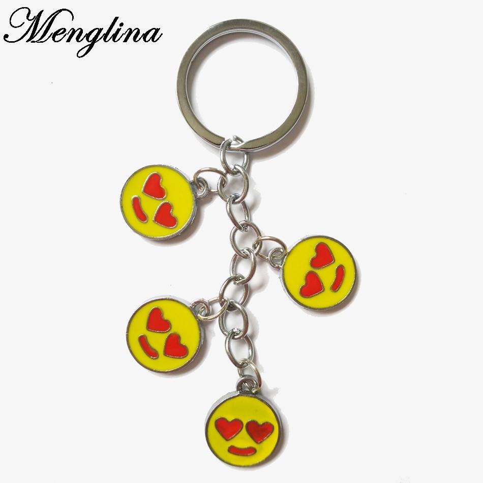 Menglina Fashion Enamel Emoji Keychain Rings Cute Metal Emoji LOVE Expression Charm Key Ring For Men & Women Accessories 70223