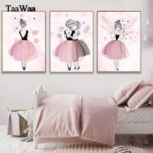 TaaWaa, pósteres e impresiones de princesa rosa en acuarela, arte de pared de Ballet para niña, cuadros de pintura de estilo nórdico para decoración de habitación de niñas y niños