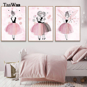 TaaWaa Watercolor Pink Princess Posters and Prints Ballet Girl Wall Art Nordic Style Painting Pictures for Girls Kids Room Decor(China)