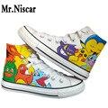 Sr. Niscar Anime Pokemon Hombres de Moda Zapatos Casuales hombres Zapatos Transpirables Zapatos de Lona Pintados A Mano de la Historieta Pikachu Colorido