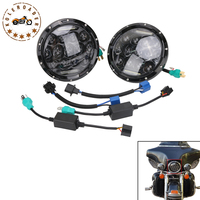 7 Round 75W Motorcycle Black Projector DRL Hid Led Light Headlight For Harley Fatboy Softail Road