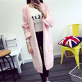 Autumn Winter Lady Wool Sweater Fashion Medium Long Cashmere Cardigan Women Loose Sweater for Female Outerwear Coat with Pockets