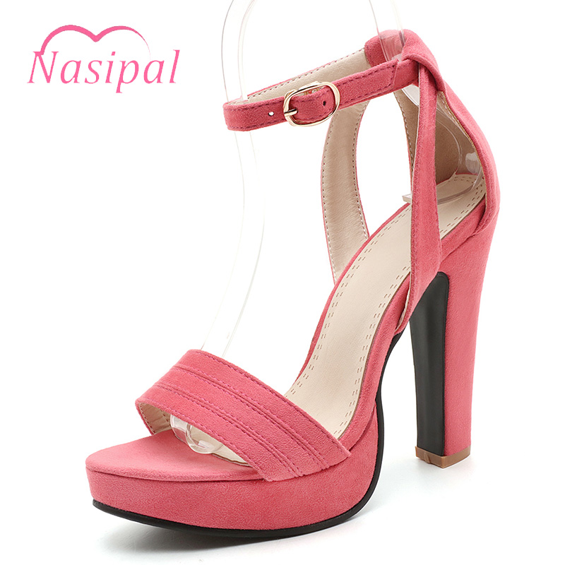 Nasipal Women Summer Platform High Heels Sandals Peep Toe Thick Heels Shoes Big Size Women Shoes Gladiator Women Sandalias C310 brand new women platform sandals t strap rivets high heels wedding shoes woman peep toe gladiator women luxury big size shoes
